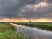 HDR image of dutch lowland river — Stock Photo