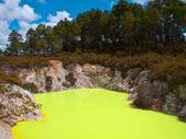 Yellow sulfur pool — Stock Photo