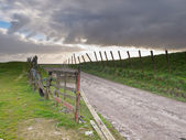 Rural road over a dutch dike — Stock Photo