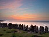 Solnedgång över havet nederländerna — Stockfoto