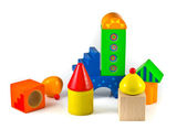 Abstract city wooden building blocks — Stock Photo