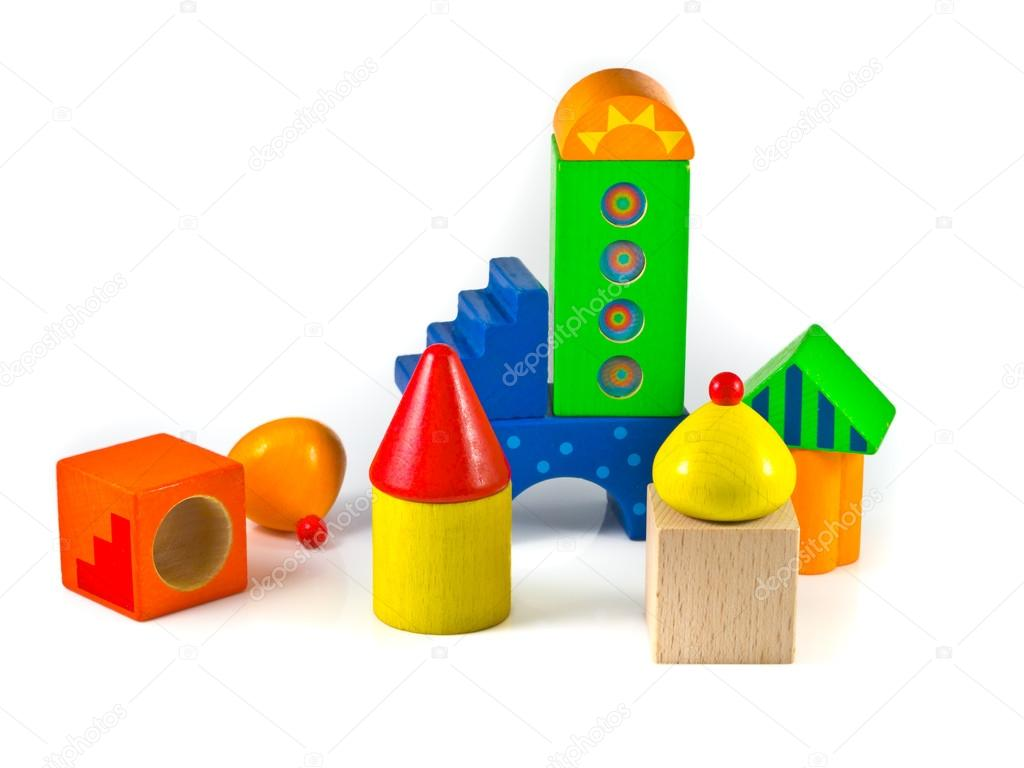Colorful wooden building blocks are arranged like an abstract city — Stock Photo #14719487