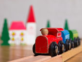 Wooden toy train scene — Stock Photo