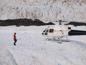 Helicopter on a glacier — Stock Photo
