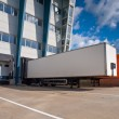 Distribution Center with Trailers Export concept — Stock Photo