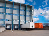 Transportation Center with Trailers — Stock Photo