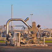 Natural gas well processing plant backdrop — Stock Photo