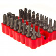 Bit head set in red rubber organizer — Stock Photo