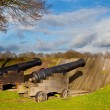 Two Antique Cannons in a Fortified Town — Stock Photo