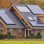 Solar panels on house — Stock Photo #34029003