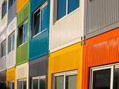 Colorful cargo containers used as home by students — Stock Photo