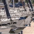 Bows of Sailing Boats Parked in a Harbor — Stock Photo