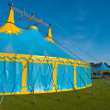 Blue and yellow big top circus tent sideview — Stock Photo #37124391