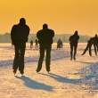 Skaters under setting sun — Stock Photo