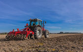 Tractor with Plough at Work — Stock Photo