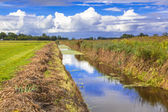 Agricultural Landscape with Recently Dredged Ditch In Friesland, — Stock Photo