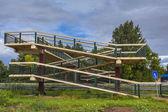Walking Bridge over Highway — Stock Photo