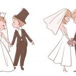 Wedding set: Bride and groom kissing — Stock Vector