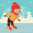Ice skating boy. Winter on frozen ice lake — Stock Vector