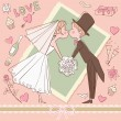 Wedding set: Bride and groom kissing — Vector de stock