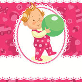 Baby girl with the green bal — Stock Vector
