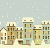 Winter christmas houses in old city — Stock Vector