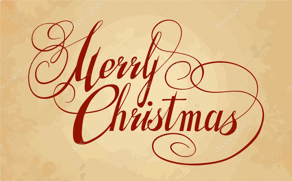 Artistic Calligraphy For Postcard Merry Christmas Stock