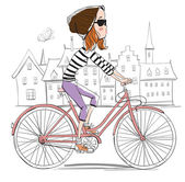 Girl on bike — Stock Vector
