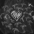 Blackboard with love message — Stock Photo
