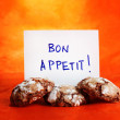 Chocolate cookies with Bon Appetit message — Stock Photo