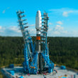 Stock Photo: Space rocket at launching platform