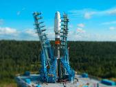 Space rocket at launching platform — Stock Photo
