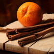 Cinnamon and orange — Stock Photo