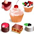 Set with 6 cakes, isolated on white background — Stock Vector