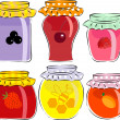 Jars of jam and honey isolated on white background — Stock Vector