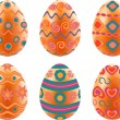 Set of easter eggs isolated on white background. — Stock Vector