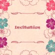 Wedding card or invitation with abstract floral background - Vettoriali Stock