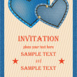 Invitation card with denim hearts — Stock Vector