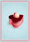 Tarjeta de felicitación con pastel — Vector de stock
