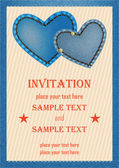 Invitation card with denim hearts — Stock Vector