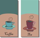 рука нарисованные чашки чая и кофе — Cтоковый вектор