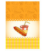 Card with hot dog and lemonade — Stock Vector