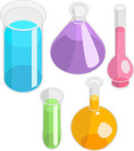 Laboratory glassware. Set of 5 vector test-tubes — Stock Vector
