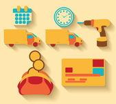 Platt design logistiska och last ikoner — Stockvektor