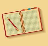 Carnet et stylo. design plat. — Vecteur