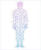 Abstract model of man with points and lines. Vector background — Stock Vector