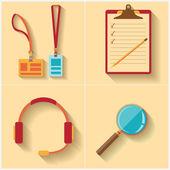 Template, flat design. Badge, Call center icon, magnifier icon, Notebook — Stock Vector