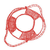 Hand drawn sketch lifebuoy — Vecteur