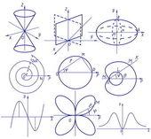 Collection de vecteur graphique de fonction mathématique — Vecteur