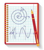 Notebook with vector mathematical function graph. Flat design. — Stock Vector
